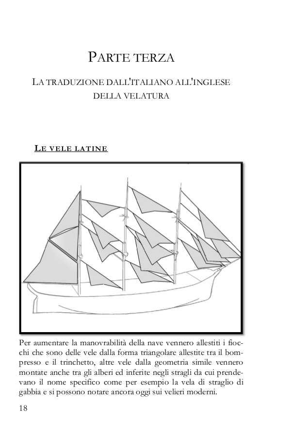 Tabella con la traduzione dei nomi delle vele latine in inglese