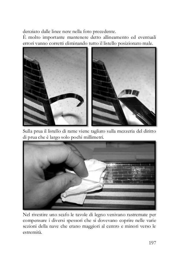 La pagina del libro mostra come rivestire uno scafo con delle strisce di rame vero simulando 800 chiodini per singola piastra.
