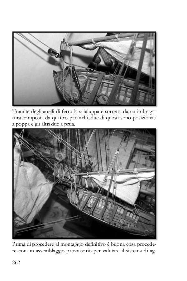 La pagina del libro mostra come posizionare una scialuppa sospesa fuoribordo.