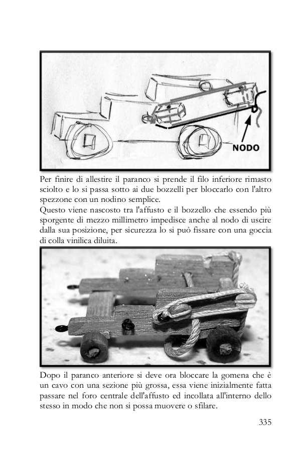 La pagina del libro mostra come allestire i paranchi dei cannoni senza annodare i fili rispettando le misure della scala.