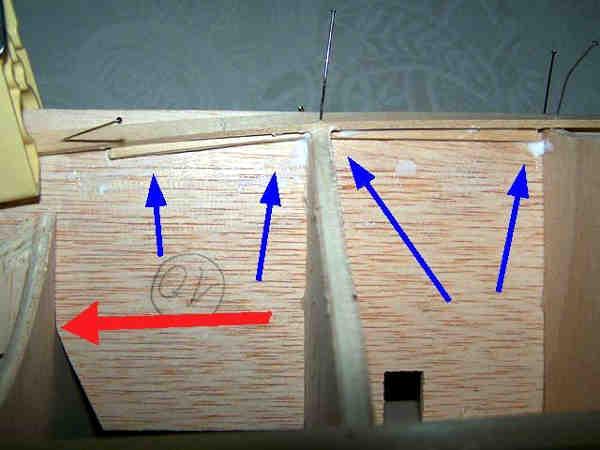 Dettaglio dei rinforzi della chiglia