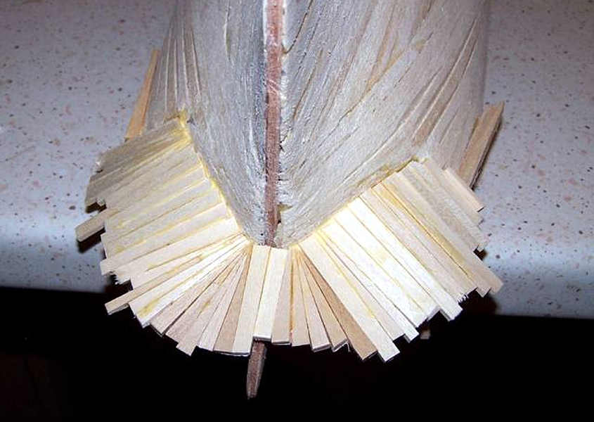 Vista dal basso dopo il rivestimento con listelli di tiglio