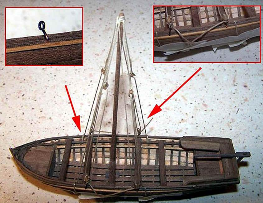 Gli stralli ed i paterazzi della barcaccia con i rispettivi paranchi