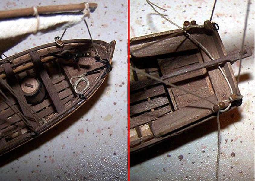 I dettagli degli stoppi delle manovre correnti della barcaccia