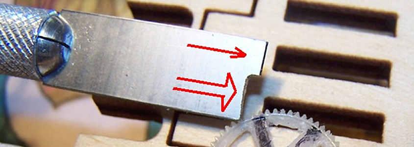 La lama modificata in modo da ridurre la lunghezza del taglio