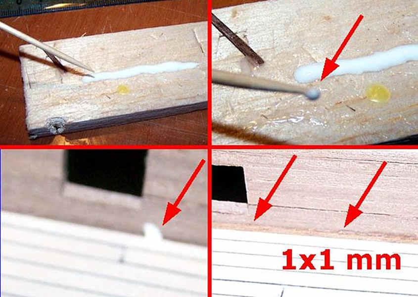 Quattro step della prima fase in cui si incolla il listello quadrato da 1x1 mm