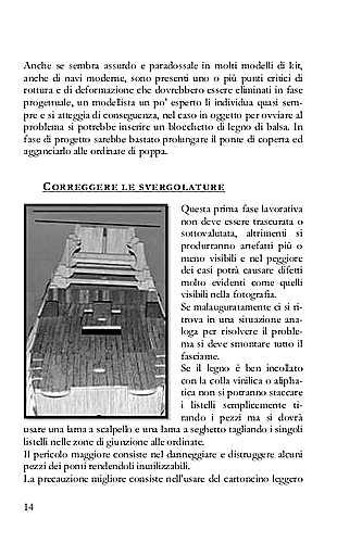 La pagina del libro mostra come correggere le svergola ture dello scafo (tipico errore da principiante).