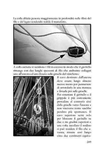 I fili in eccesso vanno tagliati in modo che il gavitello rimanga con due lunghi spezzoni di filo che andranno collegati uno all'ancora ed uno fissato sulle griselle del trinchetto.