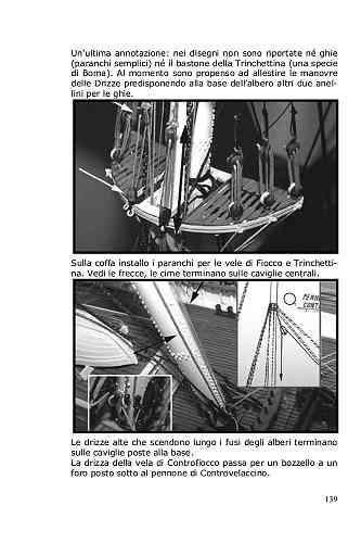 Sulla coffa installo i paranchi per le vele di Fiocco e Trinchettina (vedi le frecce nere) mentre le rispettive cime scendono lungo il fuso dell'albero e si stoppano sulle caviglie centrali.