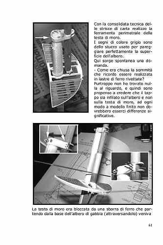 In tutti i velieri le teste di moro vanno bloccate. Nel Cutty Sark si utilizzano due barre di ferro bloccate da bulloni . Anelli e rivetti completano l'allestimento ed il dettaglio.