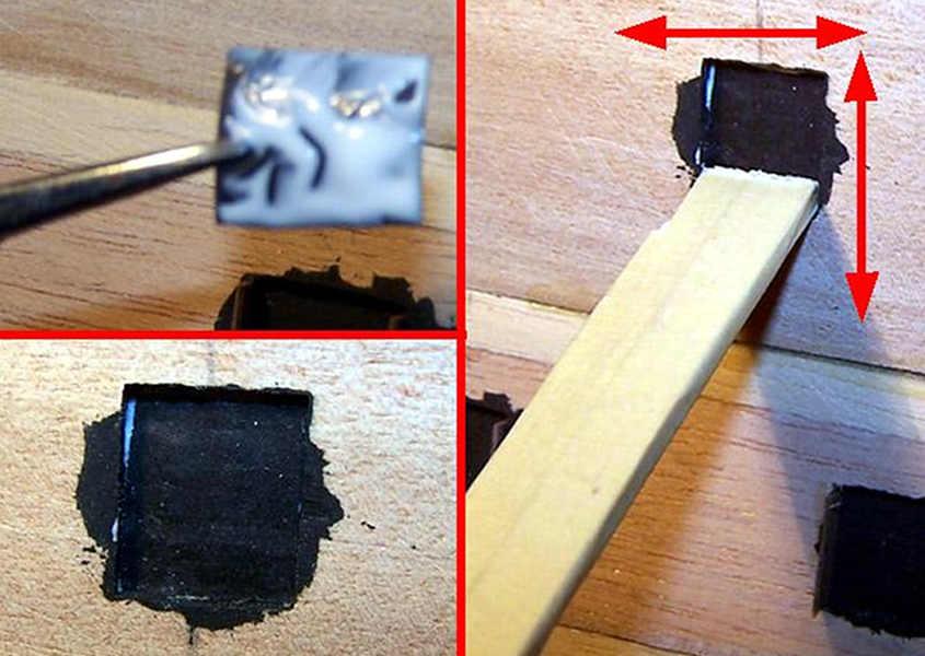 Con la carta nera si rende uniforme il fondo del sabordo.