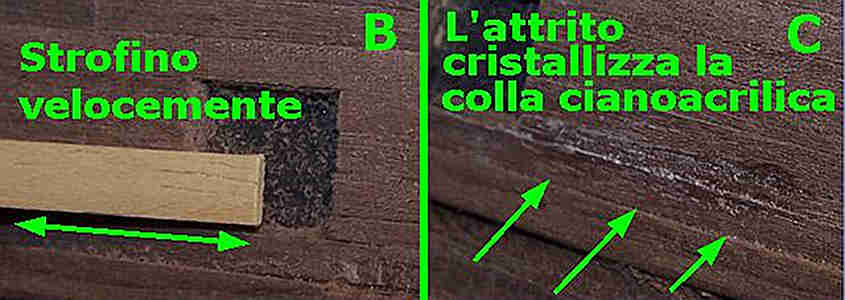 Si incollano i listelli staccati del secondo fasciame con la colla Attak in modo da correggere l'errore.