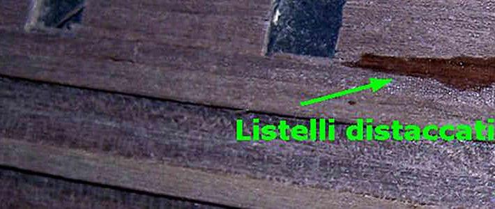 Il distacco parziale dei listelli del secondo fasciame è un errore abbastanza comune.