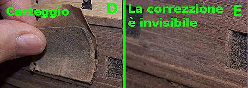 Si carteggia la colla Attak e si rende invisibile la correzione dell'errore dei listelli staccati nel secondo fasciame.