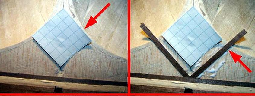 Con il trucco della carta quadrettata si riesce a garantire l'angolazione dei listelli in modo preciso