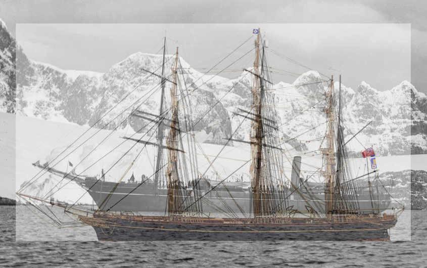 Immagini Cutty Sark e RRS Discovery sovrapposte e sfalsate verso il basso per un confronto visivo della forma dello scafo.