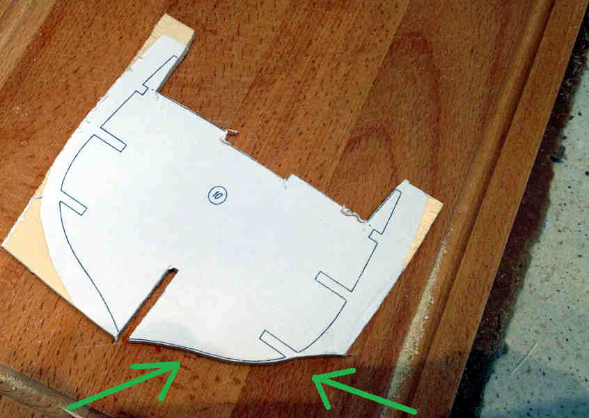 Si taglia la prima metà del bordo inferiore dell'ordinata