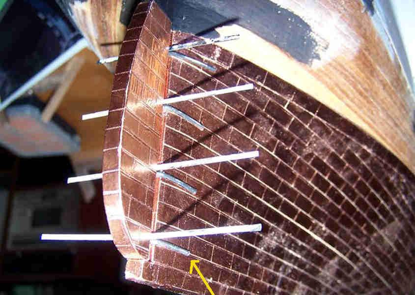 Realizzazione delle cerniere del timone del Cutty Sark (step 2).