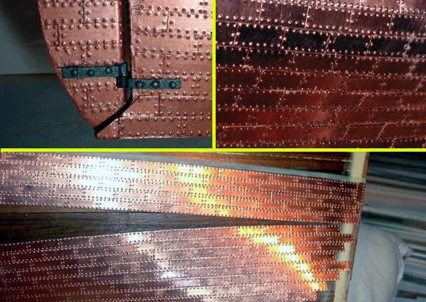Esempio di uno scafo rivestito in rame utilizzando delle si gole piastrine commerciali.