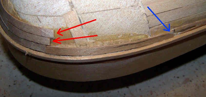 Parte della poppa che deve essere listellata con tre listelli dalla forma particolarmente difficile da riprodurre.