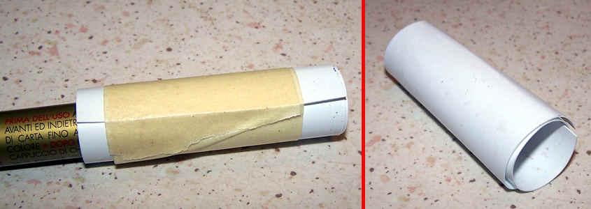 Per conferire alla plastica una forma cilindrica la immergo prima in acca bollente e poi in quella fredda.