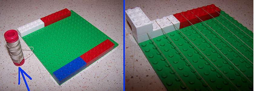 Come simulare i tubi di ferro con del refe (step 1 e 2).