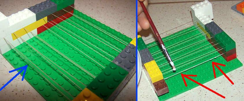 Come simulare i tubi di ferro con del refe (step 3 e 4).