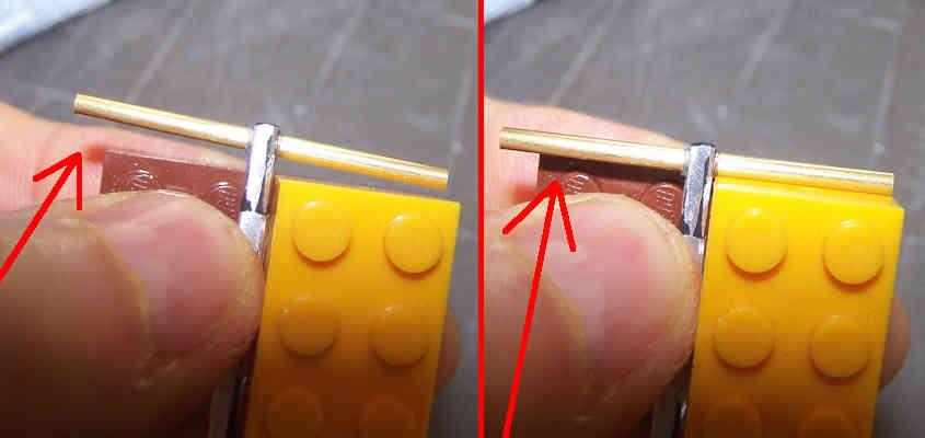 I due ceppi infilati nel perno devono essere incollati perpendicolarmente al fuso dell'ancora.