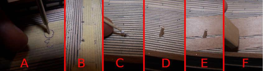 Questa sequenza fotografica descrive i primi step necessari ad installare un perno per bloccare gli oblò orizzontali del ponte.