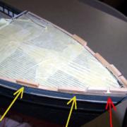 Sulla prua della RRS Discovery aggiungo altri elementi in legno.