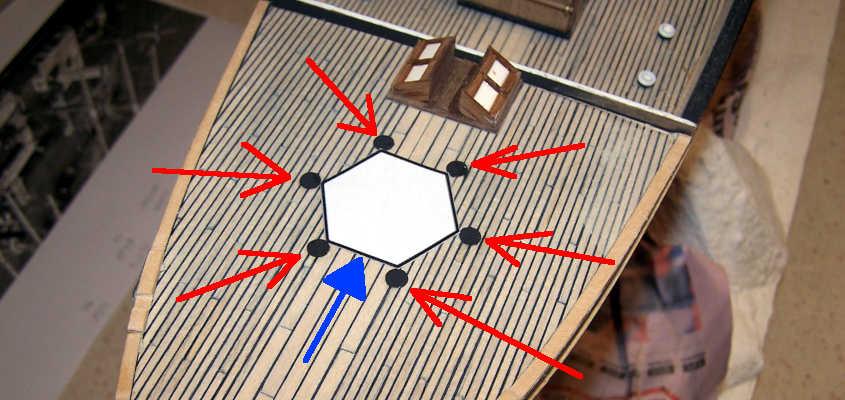 Un esagono di carta sul pinte della RRS Discovery consente un posizionamento delle sovrastrutture più accurato.