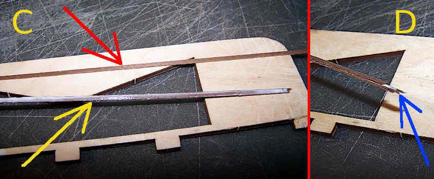 Incollo tre listelli di legno di noce per formarne uno più grosso.