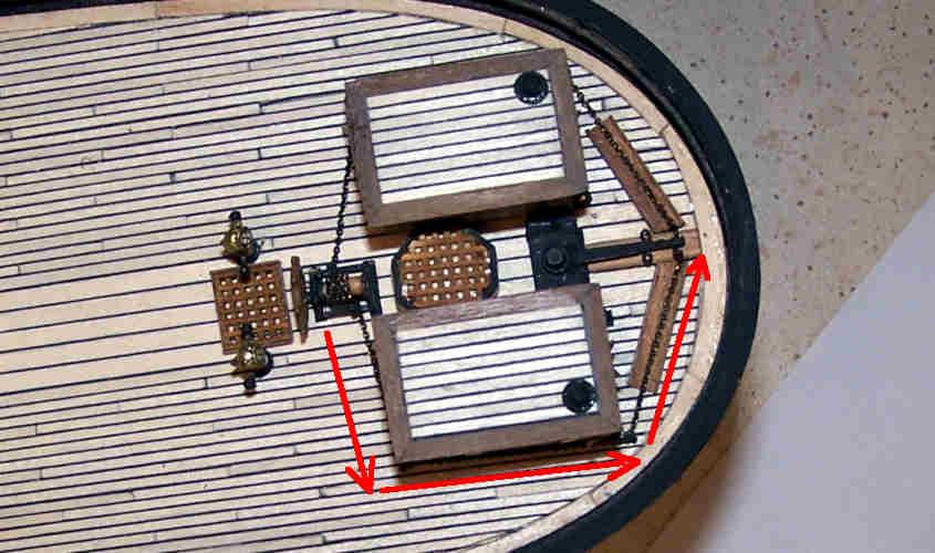 Nella RRS Discovery la catena della ruota del timone aggira i due capanni a poppa e permette di manovrare il timone.
