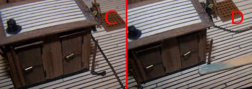 Nel foro infilo un tondino di legno di noce da 0,5 mm. di diametro.