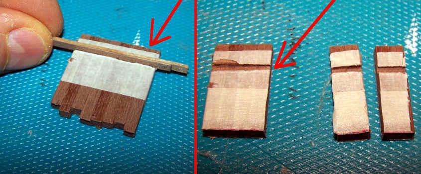 Il nastro di carta tiene uniti gli otto montanti e la lavorazione simultanea su di essi garantisce un incastro uguale per tutti.