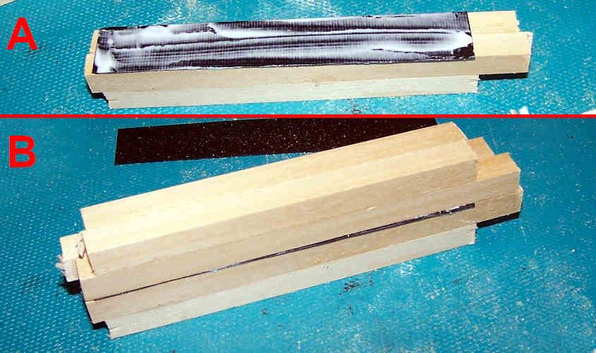 Assemblo la struttura delle scialuppe della RRS Discovery dove la striscia di carta nera rappresenta la mezzeria.