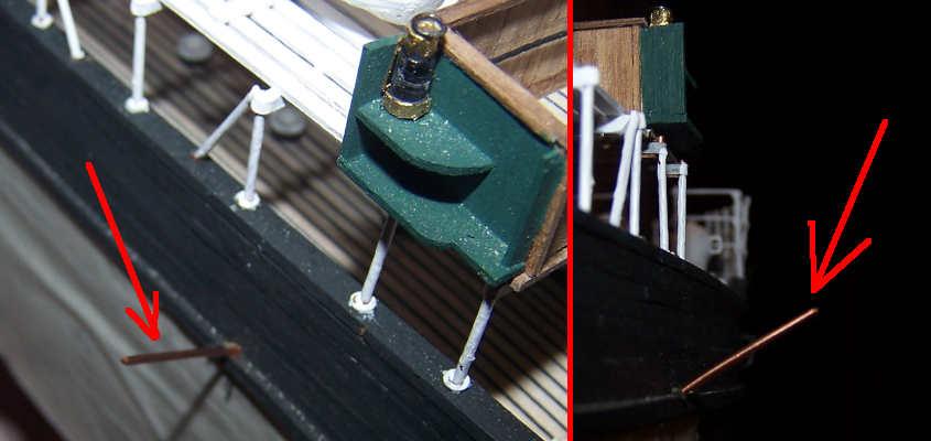Infilo nel fianco della RRS Discovery dei perni per ancorare le aste delle gru predisposte all'alesaggio delle scialuppe.