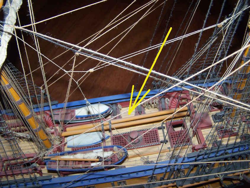 Spesso sui ponti delle navi si trovavano i ricambi per sostituire gli alberi di Parrocchetto e di Gabbia per affrontare eventuali rotture durante la navigazione.