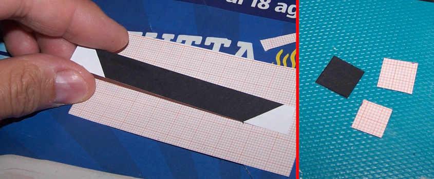 Un modo semplice per simulare il piede d'albero della RRS Discovery è adoperare del cartoncino di colore nero.